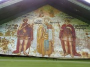 Роспись фронтона церкви Димитрия Солунского в Рябушках в Боровске Калужской области.
