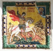 Георгий Победоносец — икона на западном фасаде Успенского собора в Богородицке Тульской области.