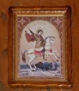 Храмовая икона над входом в церковь Георгия Победоносца в Мамоново Ленинского района Московской области.