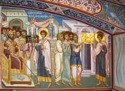 Великомученик Георгий исповедует веру перед императором, роспись интерьера нижнего храма Георгия Победоносца Иверской церкви в Очаково-Матвеевском, в Москве.