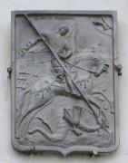 Храмовая икона над входом в церковь Георгия Победоносца, устроенной в нижнем ярусе колокольни Входоиерусалимского собора в городе Юрьевце Ивановской области.