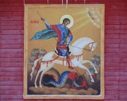 Храмовая икона на северном фасаде церкви Георгия Победоносца в Серафимовском Туймазинского района Республики Башкортостан.