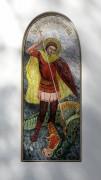 Храмовая мозаичная икона на апсиде часовни Георгия Победоносца в Оренбурге.