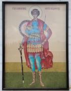 Образ Георгия Победоносца на стене часовни Елены Царицы в Мишутино Переславского района Ярославской области.