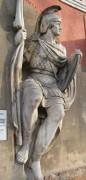 Горельеф с храма Христа Спасителя, экспонирующийся в Донском монастыре в Москве. Воин Георгий.