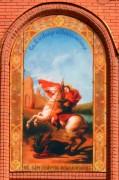Храмовая икона на фасаде кафедрального собора Георгия Победоносца в Кинеле Самарской области.